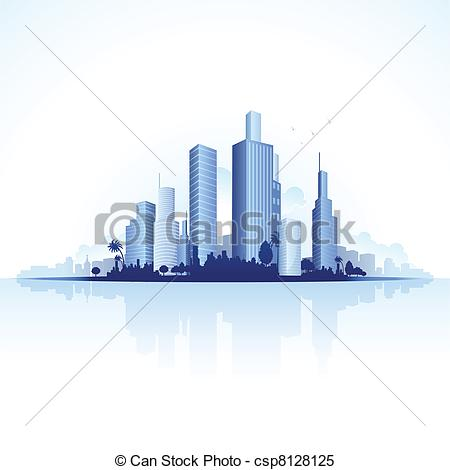 Clipart Vector of Urban City View.
