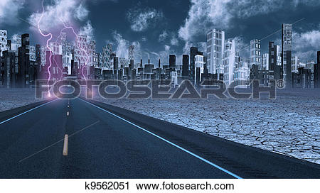 Clipart of Stormy sky on desert road leading into city k9562051.