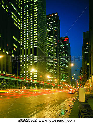 Stock Photo of City view, outdoors, night time, lights, sky, city.