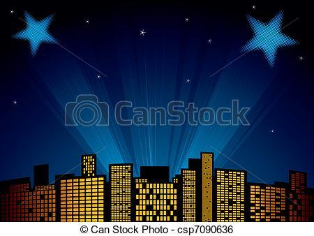 Clip Art Vector of Stars at sky.