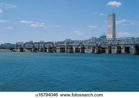 Stock Images of sky, city, bridge, river, seoul, korea u16794046.