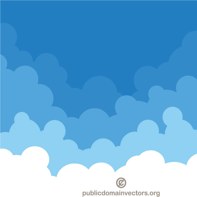 Cloudy sky vector clip art.