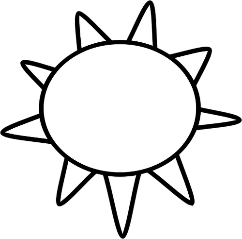 Black and white symbol for sunny sky vector image.