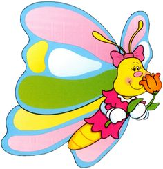 Cute cartoon butterfly on sky.