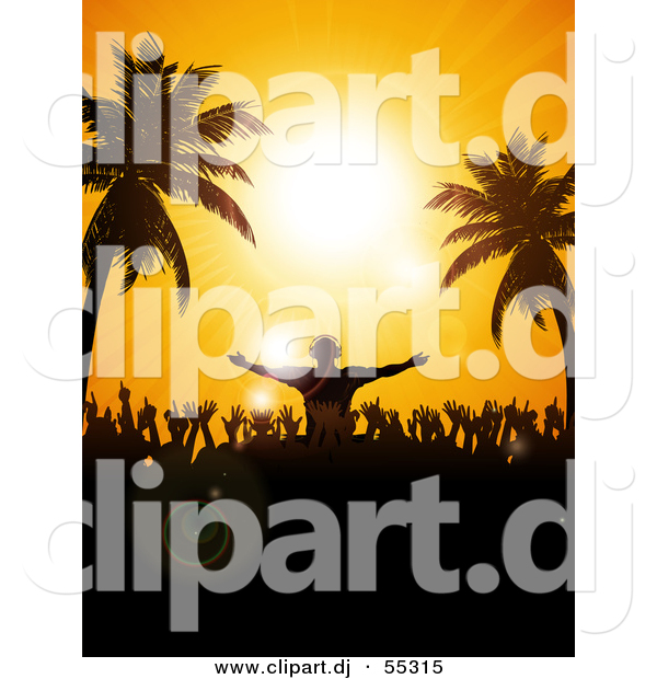 Vector Clipart of a Silhouetted Disk Jockey and Partygoers Against.