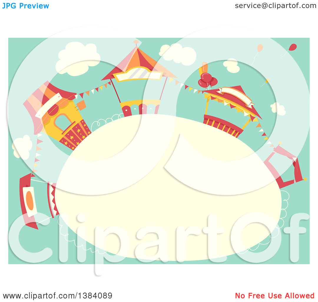 Clipart of a Frame with Carnival Booth Stands Against Sky.