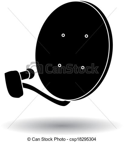 Vector Clipart of silhouette satellite dish.