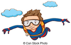 Sky diving Clip Art Vector Graphics. 747 Sky diving EPS clipart.