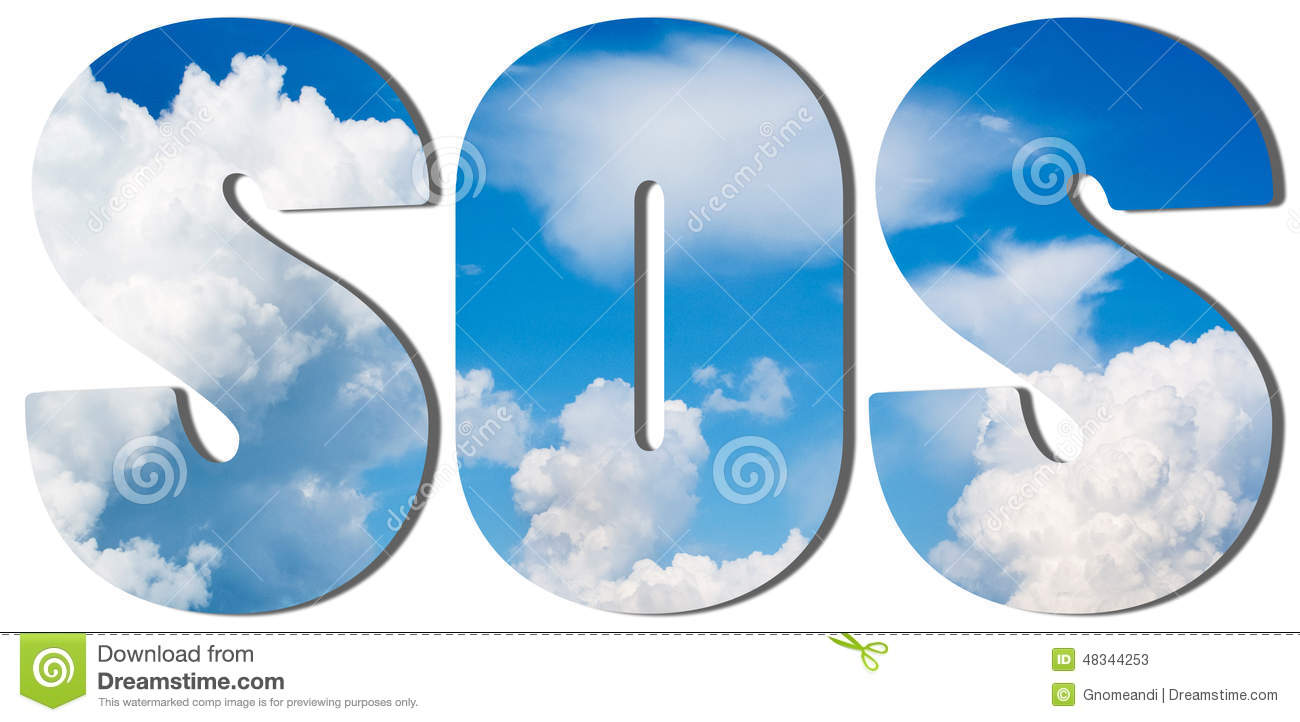 Text Filled With Blue Sky And Big Clouds Stock Photo.