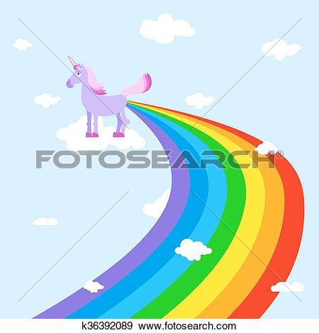 Clip Art of Unicorn pooping rainbows. Fantastic animal in sky.