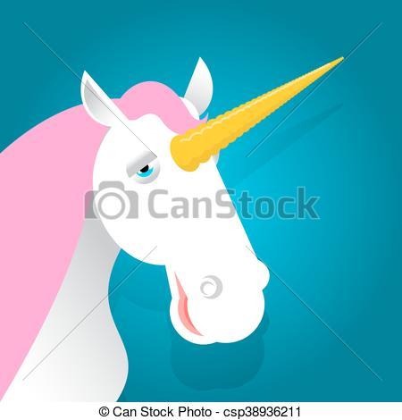Vector Clip Art of Unicorn fabulous beast with horn. Magic animal.
