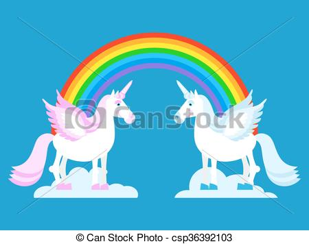 Vector Clipart of Unicorn and Rainbow. Two cute fantasy creatures.