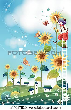Stock Illustrations of Boy Climbing a Ladder to Giant Sunflowers.