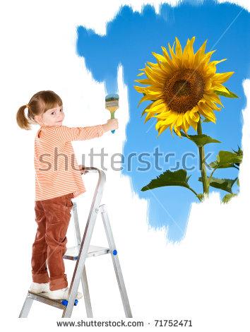 Girl On Ladder Stock Photos, Royalty.
