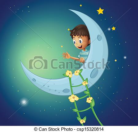 Vector Clip Art of A young boy watching the ladder plant.
