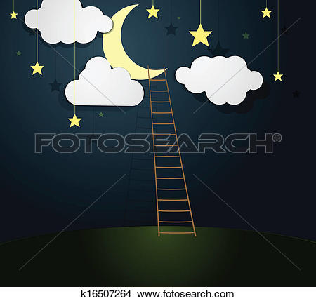 Clipart of Moon Illustration with Ladder. k16507264.