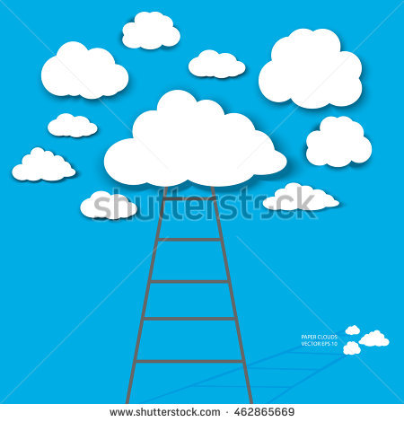 Ladder Sky White Paper Clouds Isolated Stock Vector 462858847.