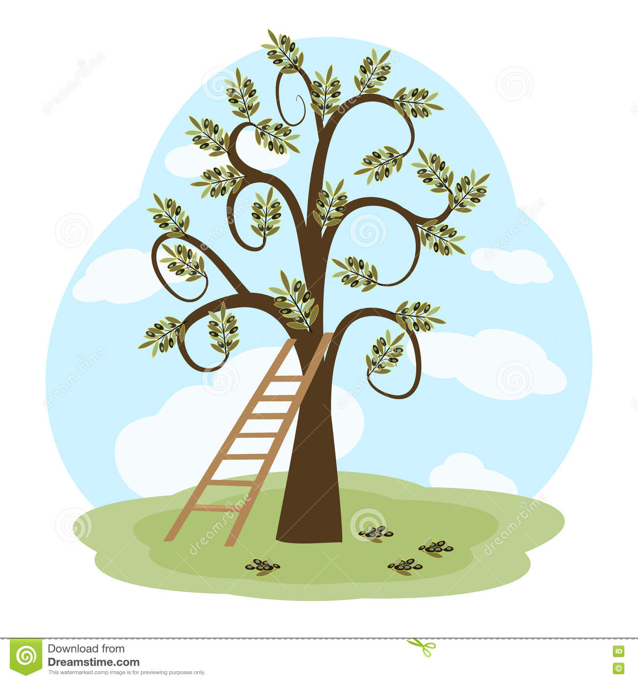 The Olive Tree And A Ladder Stock Vector.