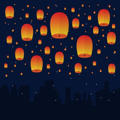 Sky Lantern In The Night Sky Illustration.