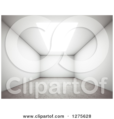 Clipart of a 3d Empty Room Interior with a Skylight or Ceiling.