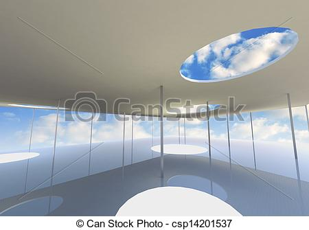 Drawings of Abstract skylight of Conceptual architecture with blue.