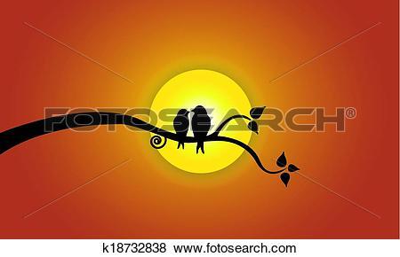 Clip Art of love birds orange evening sky sun k18732838.