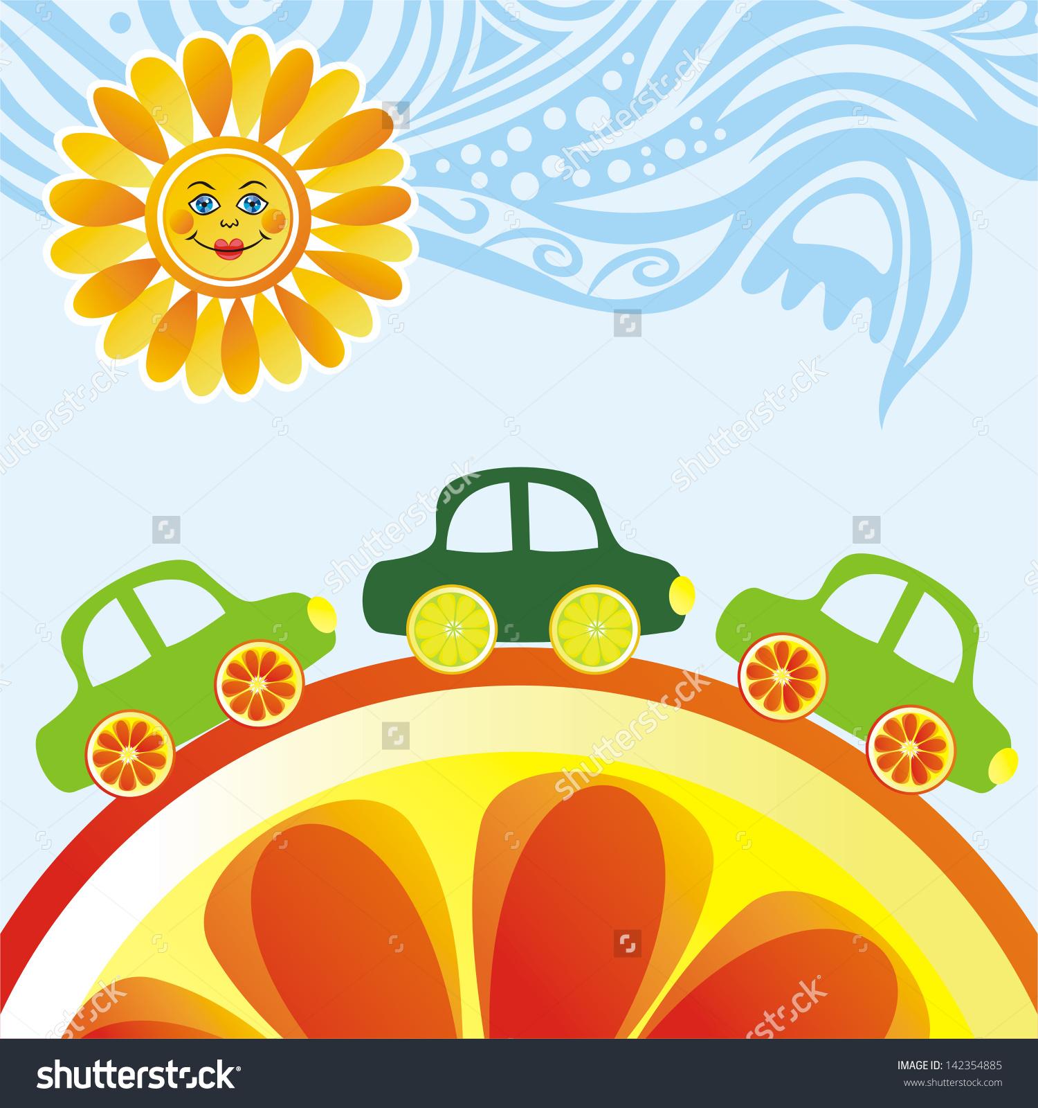 Cars Sun Sky Orange Lemon Cartoon Stock Vector 142354885.