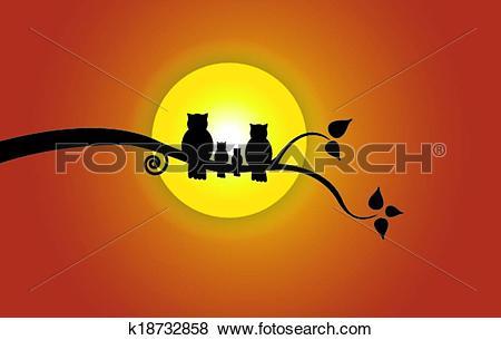 Clip Art of owl family yellow sun orange sky k18732858.