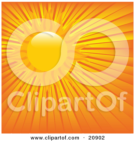 Clipart Illustration of a Hot Sun Beaming In The Sky With Orange.