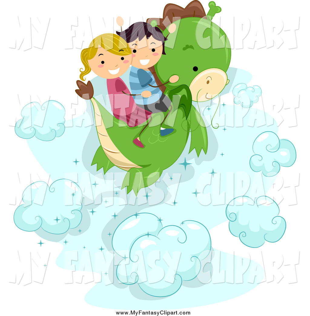 Kids Adventure Clipart Clip Art Of Stick Flying On A Dragon In The.