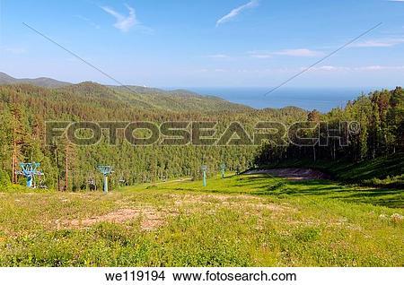 Stock Photo of Cable car, settlement Listvyanka, Lake Baikal.