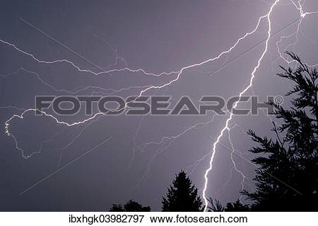 """Picture of """"Stormy sky with lightning, thunderstorm, Rhein."""