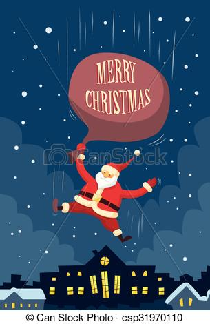 Vector Clip Art of Santa Claus Fall Down Fly Sky Roof Top House.