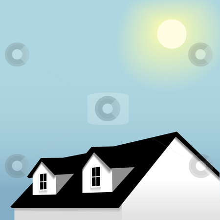 Home roof with dormers on blue sky & sun background stock vector.