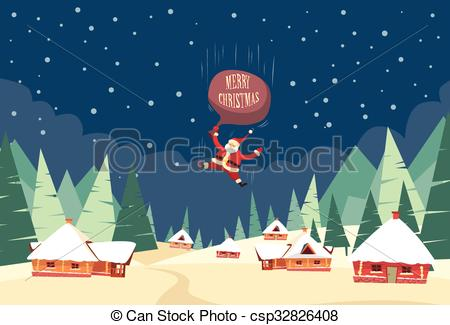 Vector Clipart of Santa Claus Fall Down Fly Sky Roof Top House Bag.