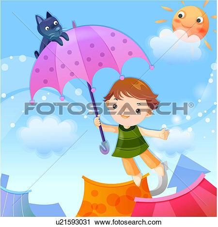 Clipart of children, roof, balloon, sky, dream u21593031.