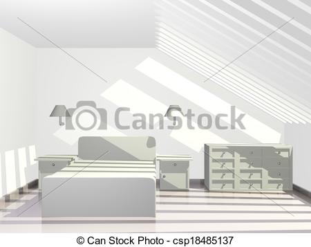 Drawings of Sunlit Penthouse Bedroom with Sky Roof.
