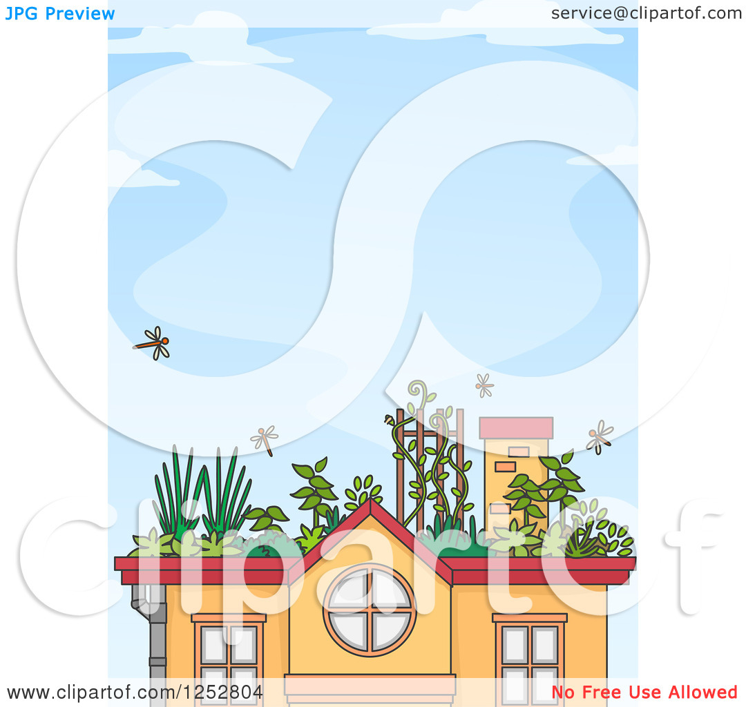 Clipart of a House with a Roof Top Garden over Blue Sky.