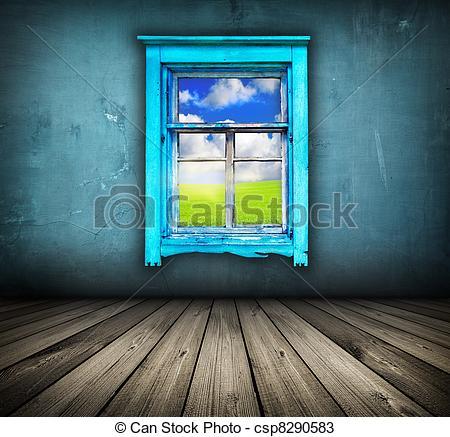Drawings of dark vintage blue room with wooden floor and window.