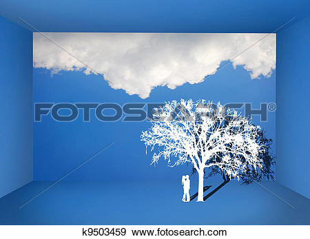 Stock Photograph of Couple kissing under the tree in the blue sky.