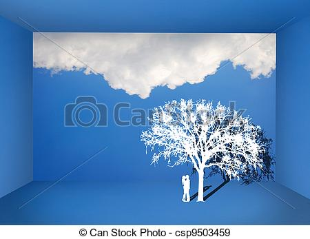 Stock Photographs of Couple kissing under the tree in the blue sky.