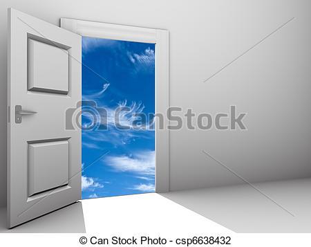 Clip Art of door open for a sky.