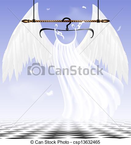 Clip Art Vector of white wings of an angel.