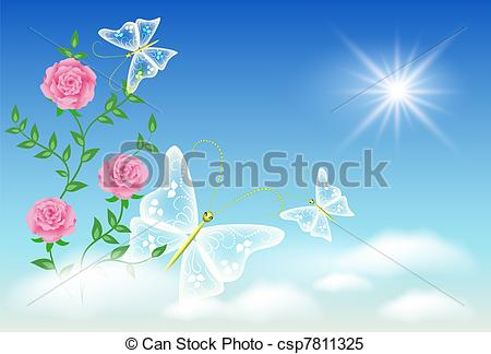 Vectors Illustration of Rose and butterflies in the sky.