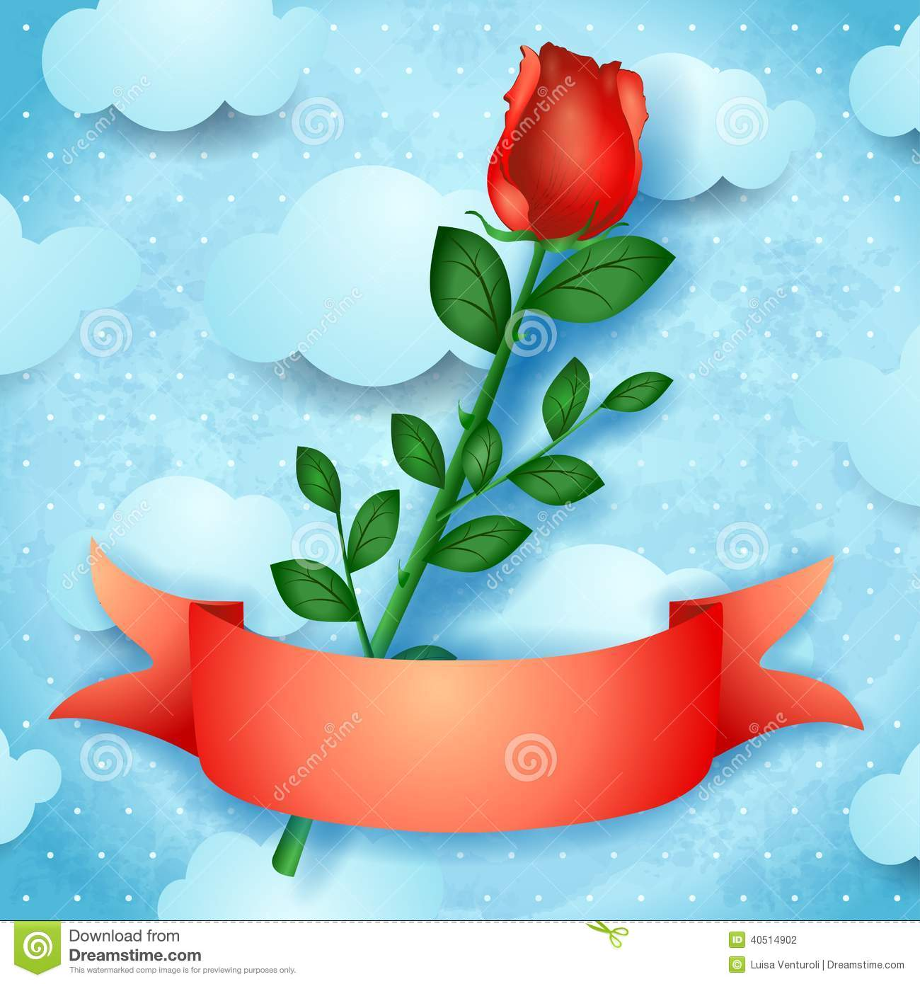 Red Rose On Sky Background Stock Vector.