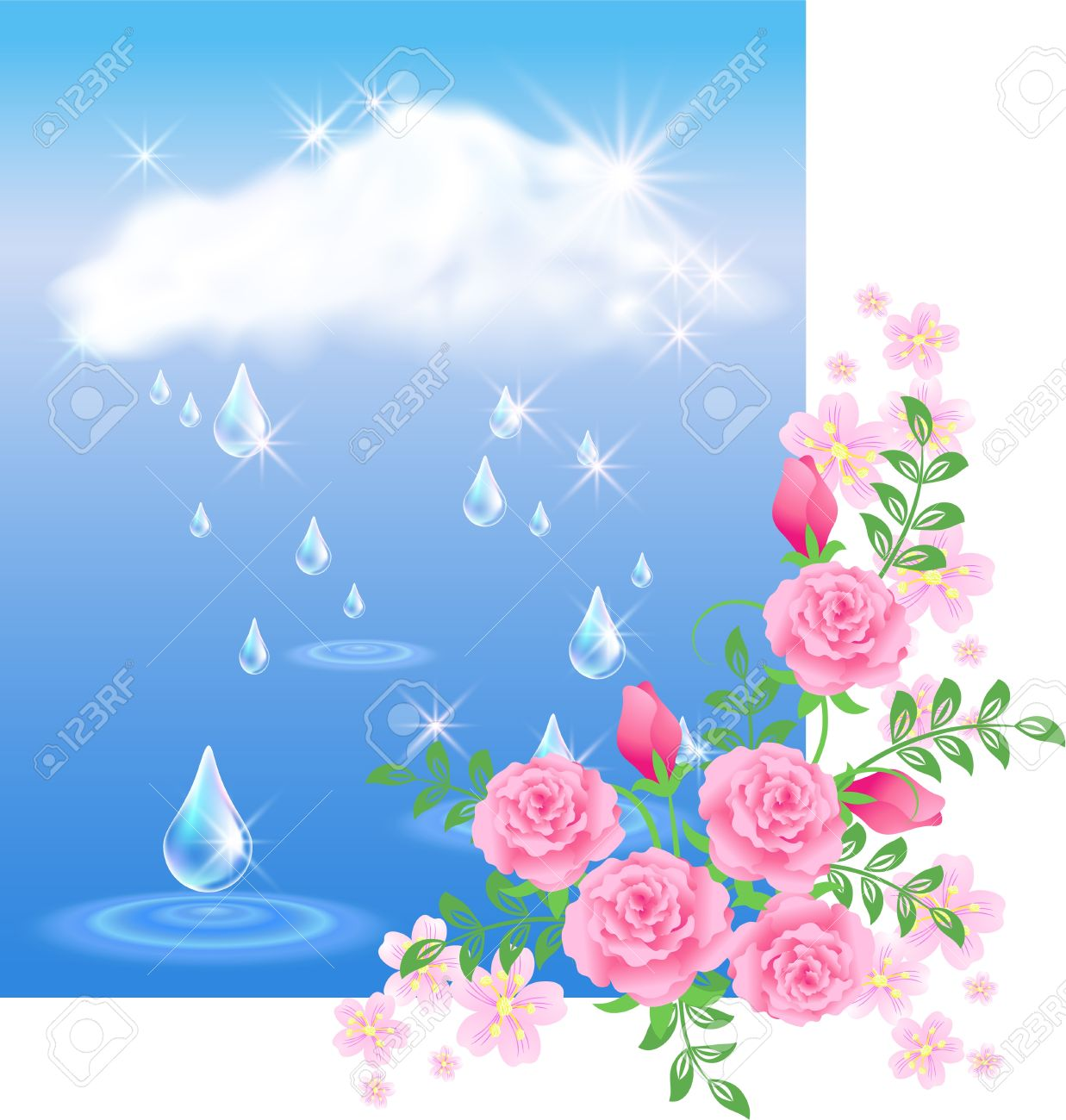 Rain In The Dark Blue Sky And Roses Royalty Free Cliparts, Vectors.