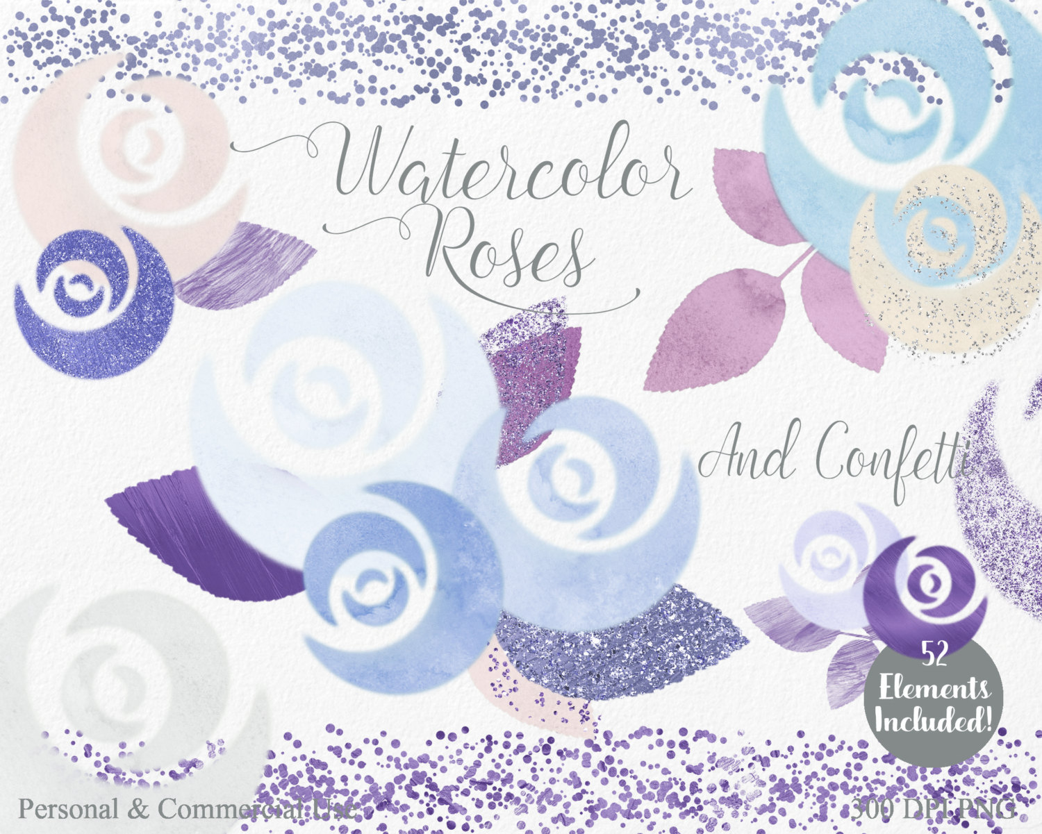 BLUE WATERCOLOR ROSE Clipart Commercial Use Clipart 52 Watercolor.