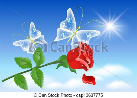 Clipart Vector of Roses and butterfly in the sky.
