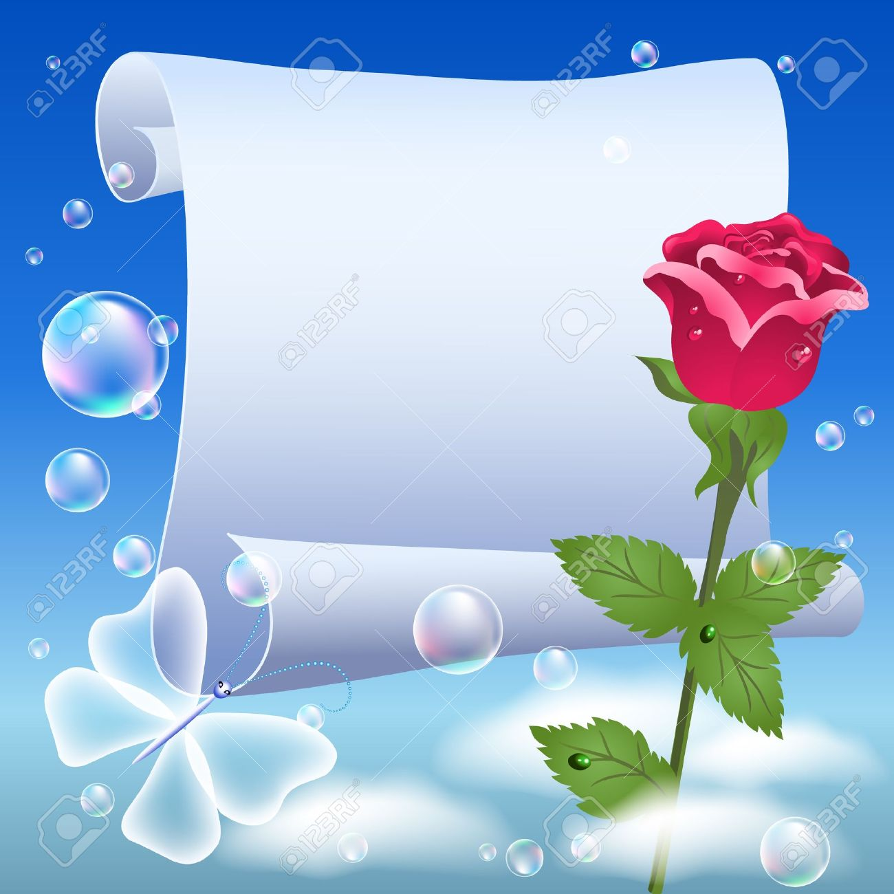 Parchment And Rose In The Sky Royalty Free Cliparts, Vectors, And.