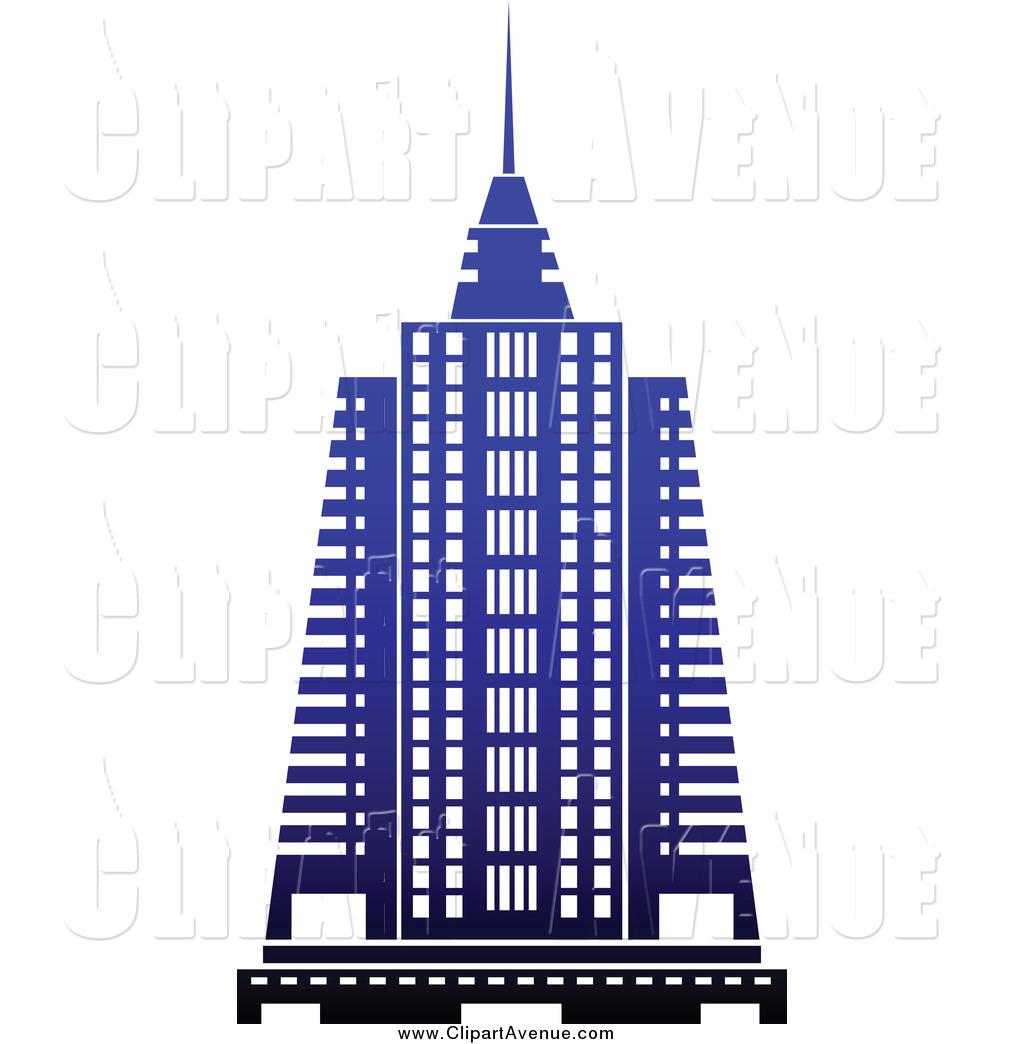 Avenue Clipart of a Blue Skyscraper by Vector Tradition SM.